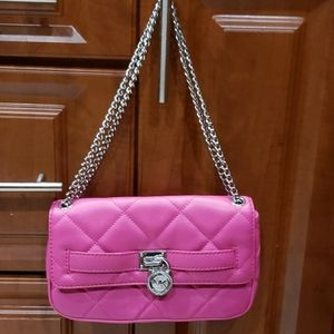 MICHAEL KORS quilted purse MK padlock chain strap